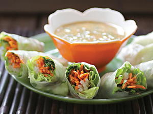 Asian Spring Rolls with Spicy Peanut Dipping Sauce