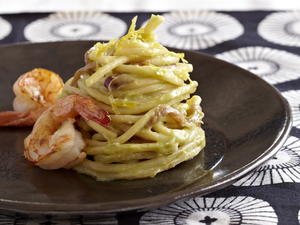 Lemon-Avocado Spaghetti with Shrimp