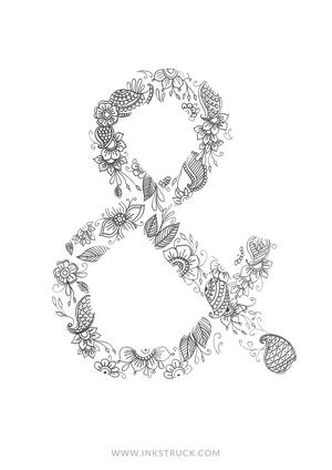 DIY Ampersand Doodle Coloring Pages