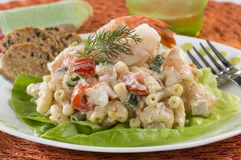 Shrimp macaroni salad for Prawn and pasta salad recipes