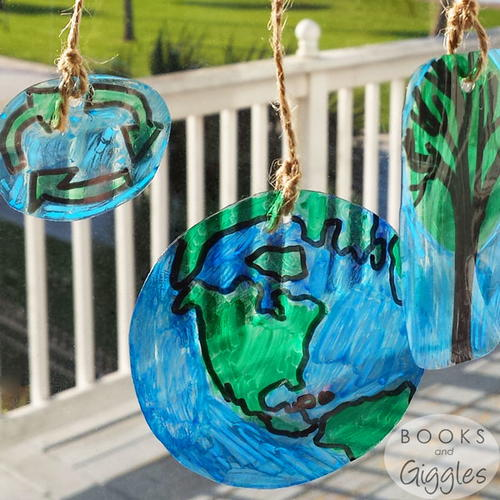 Earth day upcycled diy suncatchers for Suncatcher craft for kids