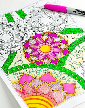 Spring Blooms Coloring Sheet