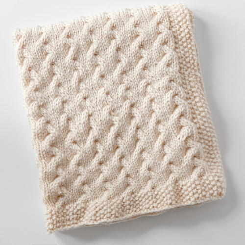 Free Knitting Pattern Baby Snuggle Blanket : Snuggly Cables Baby Blanket AllFreeKnitting.com