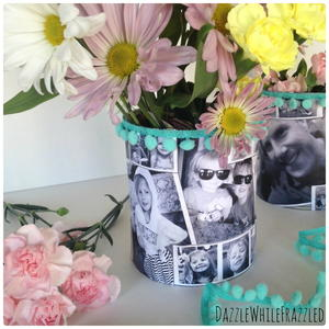 Mom's Favorite Tin Can Photo Vase