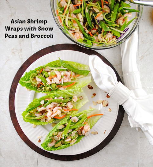 Lettuce Wraps with Shrimp, Snow Peas, Broccoli and Orange Ginger ...
