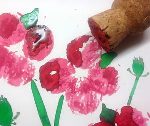 Poppy Wine Cork Painting