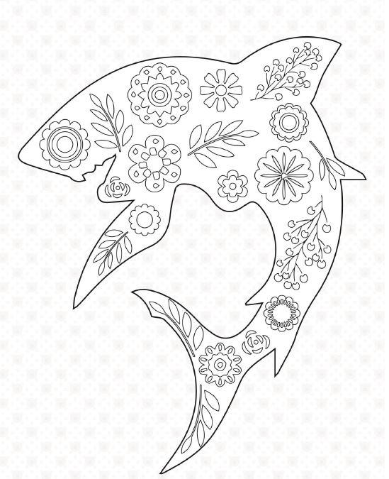 Floral Shark Coloring Page