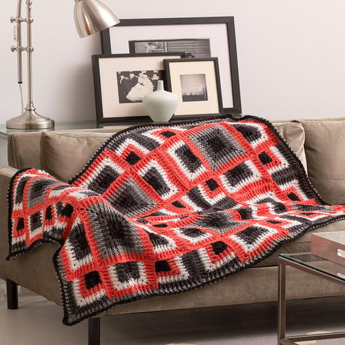 Dynamic Squares Crochet Throw Red Heart