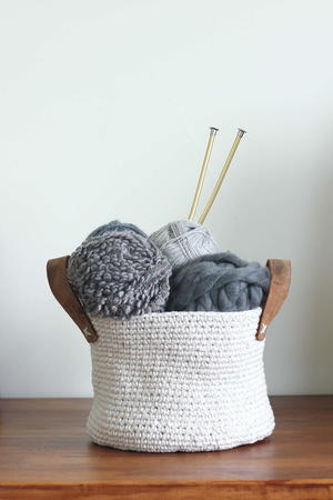 Leather and Twine Crochet Basket