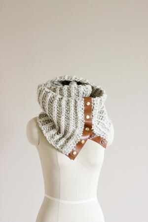 Stunning Leather Trimmed Crochet Scarf Pattern