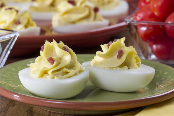 Horseradish and Bacon Deviled Eggs