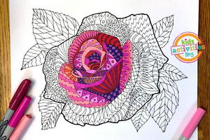 Elegant Rose Zentangle Coloring Page