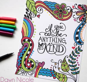 Be Kind Coloring Page