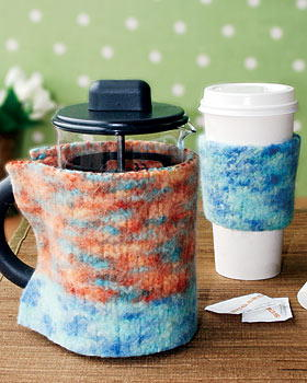 Amazing Felted Knit Coffee Cozies