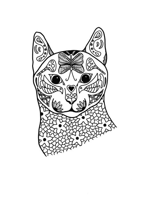 Springtime Cat Coloring Page