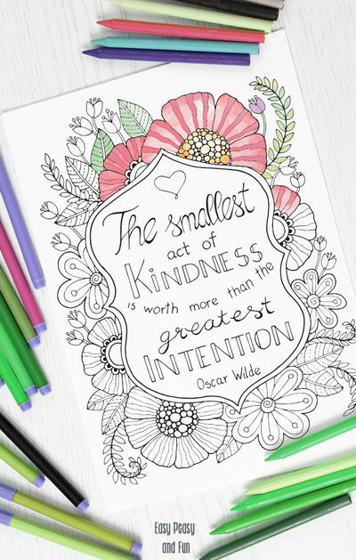 Kindness Quote Coloring Page