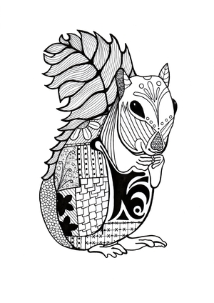 Intricate Squirrel Adult Coloring Page