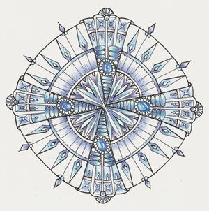 Diamonds and Ice Mandala Coloring Page