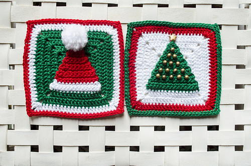 Christmas Hat and Tree Granny Squares
