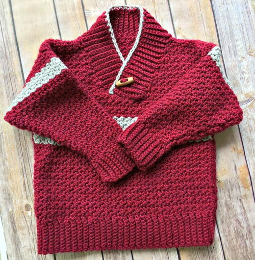 Boy's Shawl-Collared Crochet Sweater