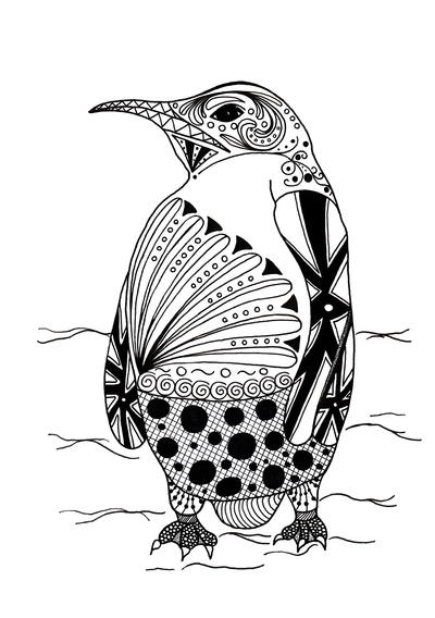 Intricate Penguin Adult Coloring Page