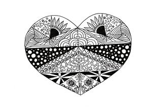 Zentangle Soulmate Adult Coloring Page