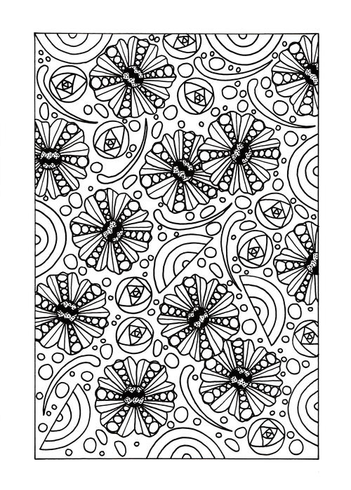 Mindless Floral Adult Coloring Page