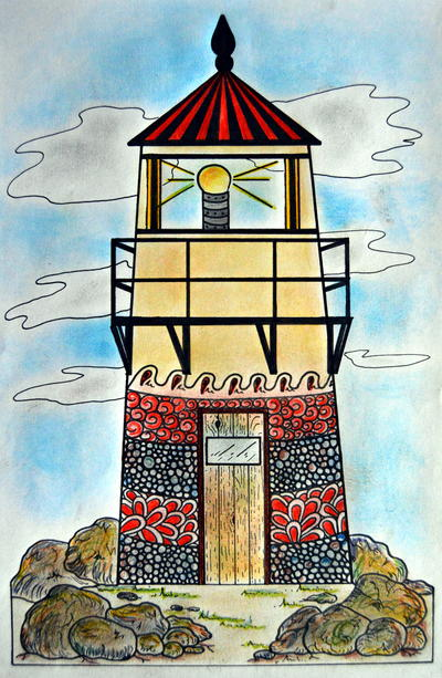 Zentangle Lighthouse Adult Coloring Page