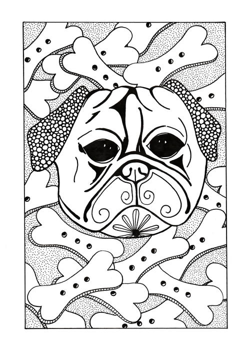 Bone Lovin Dog Adult Coloring Page