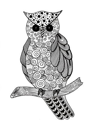 Zentangle Owl Adult Coloring Page