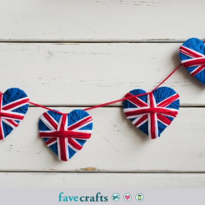 Union Jack Yarn Heart Garland