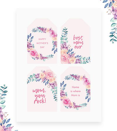 Free Printable Mother's Day Card & Gift Tags