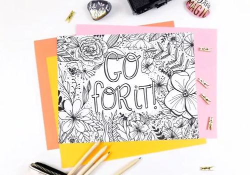 Go For It Inspirational Coloring Page