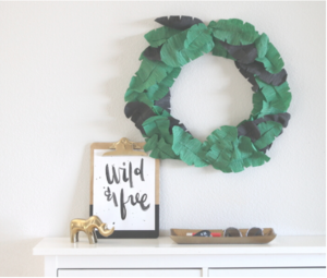 Homemade Paper Banana Leaf Wreath