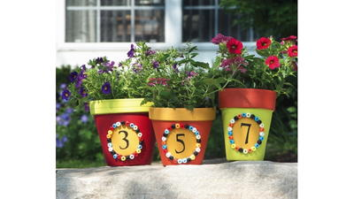 Painted Address Flower Pots