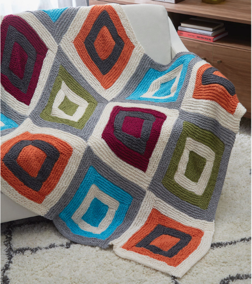 Color Blocks Free Knit Throw Pattern