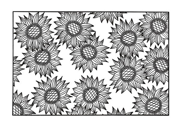Bursting Sunflowers Coloring Page
