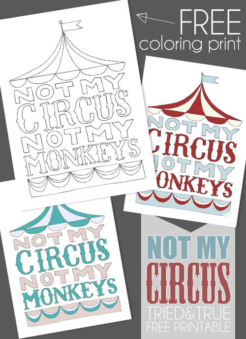 Not My Circus Not My Monkeys Coloring Page