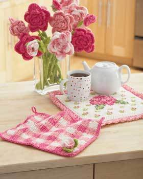 Rose Dishcloth and Potholder