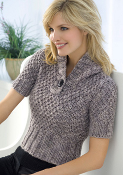 Short Sleeve Hooded Sweater Knitting Pattern Favecrafts Com