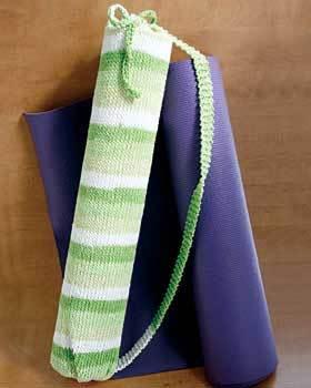 Knitting Pattern Yoga Mat Tote : Striped Yoga Mat Bag Knitting Pattern FaveCrafts.com