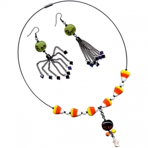 Halloween Candy Corn Necklace and Boo Earrings