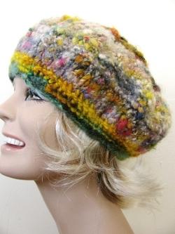 Mismatched Yarn Felted Beret Knitting Pattern Favecrafts Com