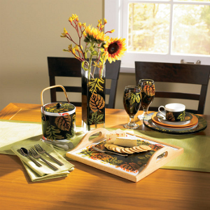 Colorful Fall Leaves Dinnerware from Creative Home Arts