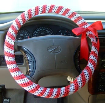 Crochet Candy Cane Steering Wheel Cover Favecrafts Com