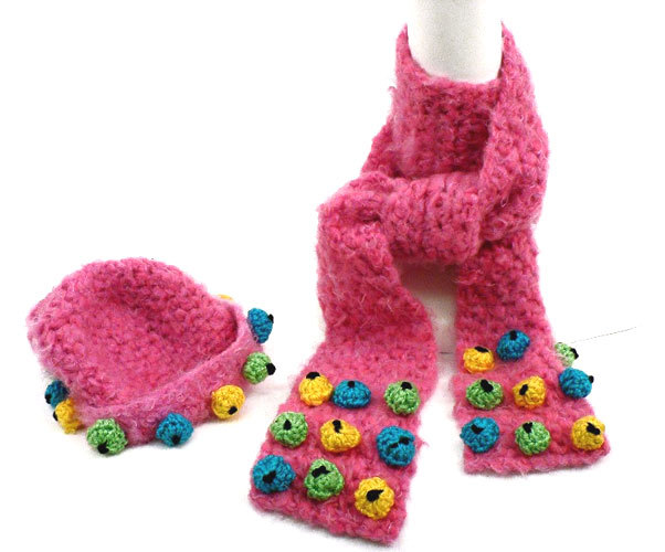 Bobble scarf and hat for Fave crafts knitting patterns
