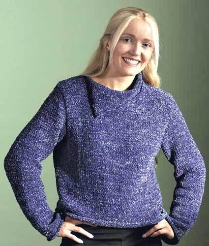 Split-Neck Sweater Knitting Pattern from Caron Yarn ...
