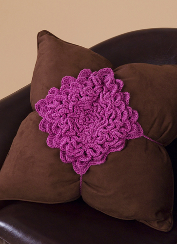 Flower Petal Pillow Crochet Pattern from Caron Yarn FaveCrafts.com