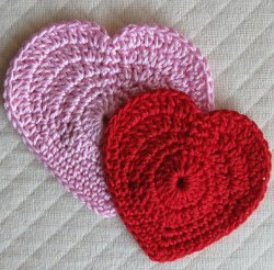 Pink and Red Crocheted Hearts