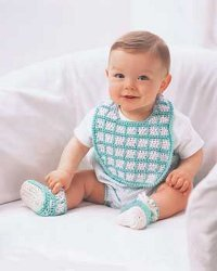 Blue Baby Booties and Bib